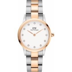 Daniel Wellington Iconic Link Lumine 28mm White Dial Cubic Zirconia Steel Rose Gold Case Bracelet Watch found on MODAPINS from Fields for USD $323.70