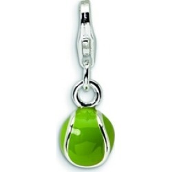 Amore LaVita� Sterling Silver 3-D Enameled Tennis Ball w/Lobster Clasp Bracelet Charm