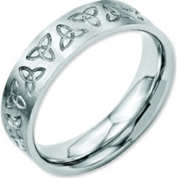 Chisel Stainless Steel Engraved Trinity Symbol Brushed 6mm Weeding Band