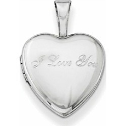 Sterling Silver I Love You 12mm Heart Locket Necklace
