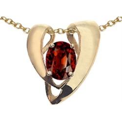 Tommaso Design� Oval 9x7mm Genuine Garnet Pendant Necklace Enhancer