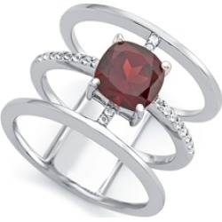 Sterling Silver 3 Band Ring with 7mm Garnet Cushion