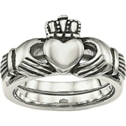 Chisel Stainless Steel Love Loyalty Friendship Claddagh Double Hinged Ring