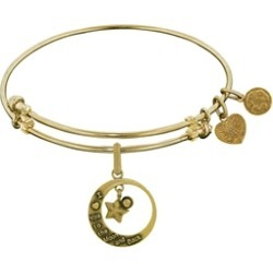 Brass With Yellow Love You To The Moon and Back Charm For Angelica Collection Bangle