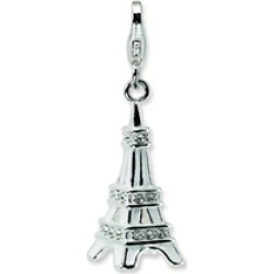 Amore LaVita� Sterling Silver 3-D Enameled Swarovski Crystal Eiffel Tower w/Lobster Clasp for Charm Bracelet