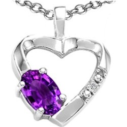 Tommaso Design� Oval 6x4 mm Genuine Amethyst Heart Pendant Necklace found on Bargain Bro India from Fine Jewelers for $329.99