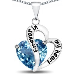 "Star K� Heart Shape Simulated Aquamarine ""Forever In My Heart"" Pendant Necklace"