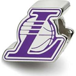 LogoArt Sterling Silver Los Angeles Lakers L On Basketball Enameled Logo Bead Charm