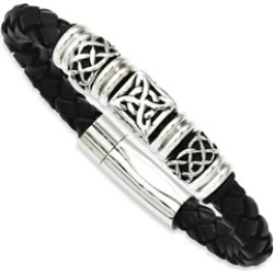 Chisel Stainless Steel Black Leather W/ Antiqued Beads 8.5in Bracelet