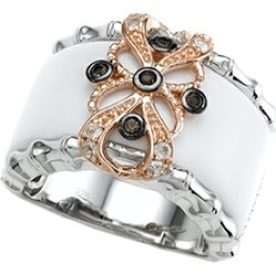 Carlo Viani� 925 Sterling Silver White Agate Ring with White Topaz and Smoky Quartz