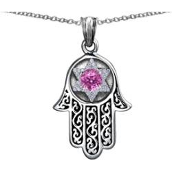 Star K� Hamsa Evil Eye Protection Pendant Necklace Round Created Pink Sapphire