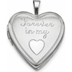 Sterling Silver 20mm Forever In My Heart Heart Locket Necklace