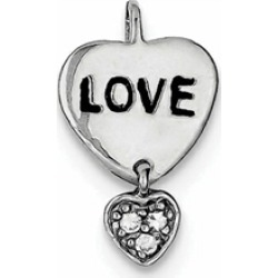 Sterling Silver Love Cubic Zirconia Heart Pendant Necklace - Chain Included