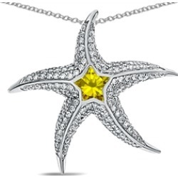 """Star K� Sterling Silver Simulated Citrine """"Star Fish"""" Pendant Necklace"""