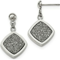 Chisel Stainless Steel Polished With Silver Druzy Post Dangle Earrings found on Bargain Bro India from Fine Jewelers for $79.99