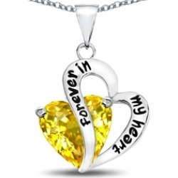 "Star K� Heart Shape Simulated Citrine ""Forever In My Heart"" Pendant Necklace"