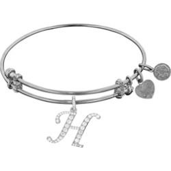 Brass With White Finish Initial H Charm For Angelica Collection Bangle