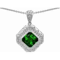 Star K� 7mm Cushion Cut Simulated Emerald Bali Style Pendant Necklace found on Bargain Bro India from Fine Jewelers for $69.99