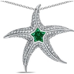 """Star K� Sterling Silver Simulated Emerald """"Star Fish"""" Pendant Necklace"""