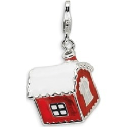 Amore LaVita� Sterling Silver 3-D Enameled House with Snow on Roof w/Lobster Clasp Bracelet Charm