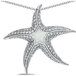 """Star K� Sterling Silver Simulated Opal """"Star Fish"""" Pendant Necklace"""