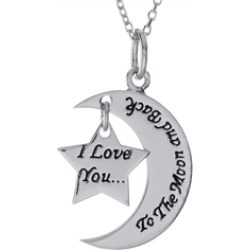 """Sterling Silver """"I Love You to the Moon and Back"""" Star Pendant Necklace 18 inch adjustable Chain Included"""
