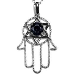 Star K� Large Hamsa Hand Jewish Star of David Pendant Necklace Genuine Black Sapphire