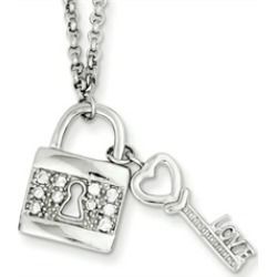 Sterling Silver Love Key W/ Hanging Lock and Cubic Zirconia Necklace