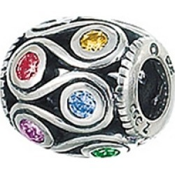 Zable� Sterling Silver Loops With Multicolor Crystals Bead / Charm