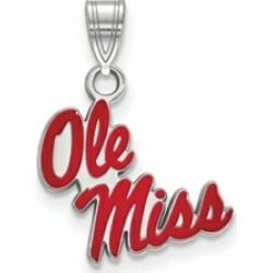 LogoArt Sterling Silver University Of Mississippi Small Enamel Pendant Necklace found on Bargain Bro India from Fine Jewelers for $51.14