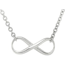 Sterling Silver Infinity Shiny Oval Link Ladies Necklace