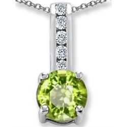 Star K� Round 7mm Simulated Peridot and Cubic Zirconia Pendant Necklace found on Bargain Bro India from Fine Jewelers for $19.99