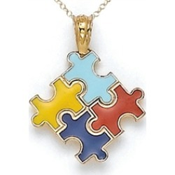 14kt Yellow Gold Enamel Autism Puzzle Charm Pendant Necklace - Chain Included