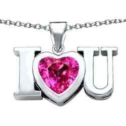 Star K� 8mm Heart Shape Created Pink Sapphire I Love You Heart Pendant Necklace