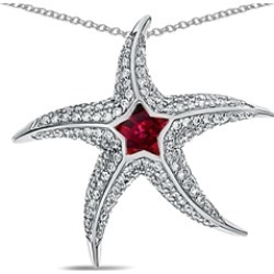 """Star K� Sterling Silver Created Ruby""""Star Fish"""" Pendant Necklace"""