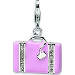Amore LaVita� Sterling Silver 3-D Swarovski Crystal and Enameled Laptop Bag w/Lobster Clasp for Charm Bracelet