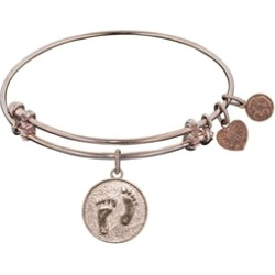 """Angelica Collection Non-antique Pink Stipple Finish Brass """"barefoot In The Sand"""" Expandable Bangle"""