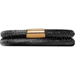 Endless Jewelry - Jennifer Lopez Collection Black Reptile, 38cm/7.5inch Double Leather Bracelet Gold Finish