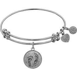 """Angelica Collection Non-antique White Stipple Finish Brass """"barefoot In The Sand"""" Expandable Bangle"""