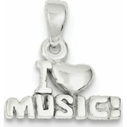 Sterling Silver I Love Music Pendant Necklace - Chain Included