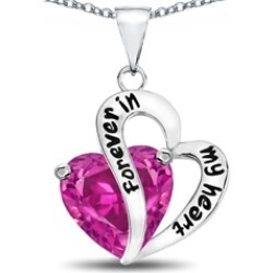 "Star K� Heart Shape Created Pink Sapphire ""Forever In My Heart"" Pendant Necklace"