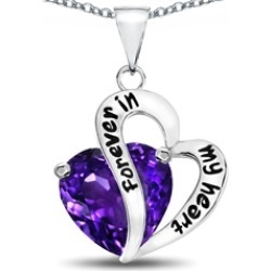 "Star K� Heart Shape Simulated Amethyst ""Forever In My Heart"" Pendant Necklace"