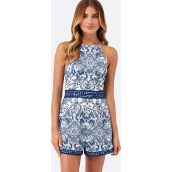 Huxley Jacquard Playsuit - Blue Tile - 16 found on MODAPINS from Forever New Clothing for USD $24.02