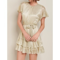 Camilla Foil Plisse Skater Dress - Gold - 6 found on MODAPINS from Forever New Clothing for USD $107.58