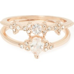 Millie Cubic Zirconia Two-Pack of Rings - Rose Gold - s m