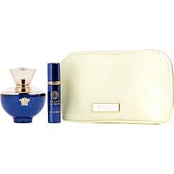 VERSACE DYLAN BLUE by Gianni Versace SET-EAU DE PARFUM SPRAY 3.4 OZ & EAU DE PARFUM SPRAY .33 OZ MINI & POUCH for WOMEN