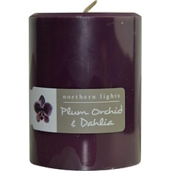 PLUM ORCHID & DAHLIA ONE 3x4 inch PILLAR CANDLE. BURNS APPROX. 80 HRS. for UNISEX found on Bargain Bro India from fragrancenet.com for $20.99
