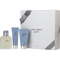 D & G LIGHT BLUE by Dolce & Gabbana SET-EDT SPRAY 4.2 OZ & AFTERSHAVE BALM 2.5 OZ & SHOWER GEL 1.6 OZ for MEN found on Bargain Bro from fragrancenet.com for USD $63.83