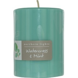 WATERCRESS & MINT ONE 3x4 inch PILLAR CANDLE. BURNS APPROX. 80 HRS. for UNISEX found on Bargain Bro India from fragrancenet.com for $23.99