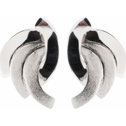 9ct white gold matt and polished stud earrings found on Bargain Bro UK from Fraser Hart